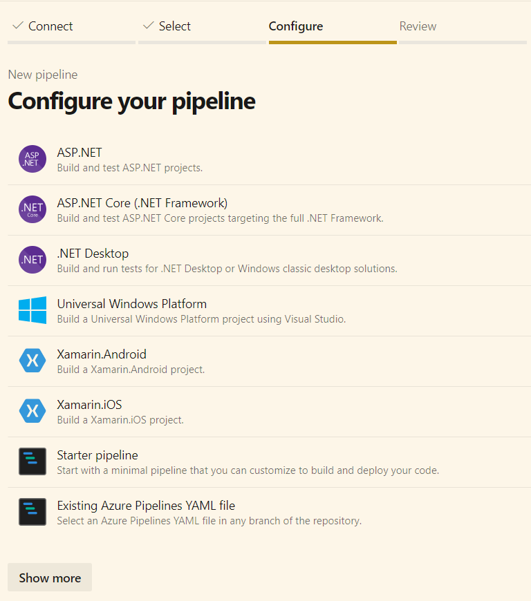 slect AspNet Core template