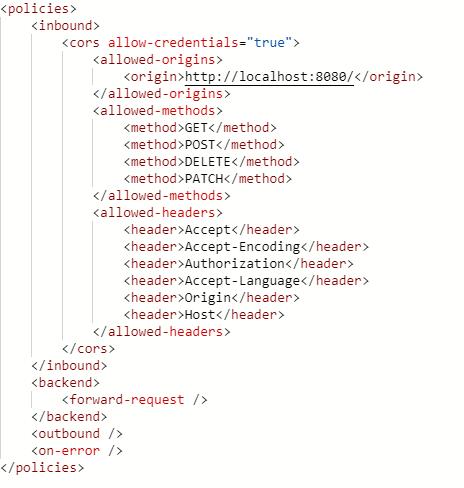 code paramétrage CORS policy