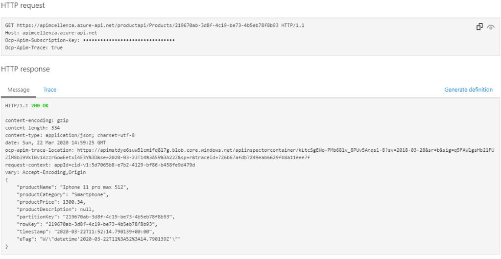 capture écran appel API et mise en place caching
