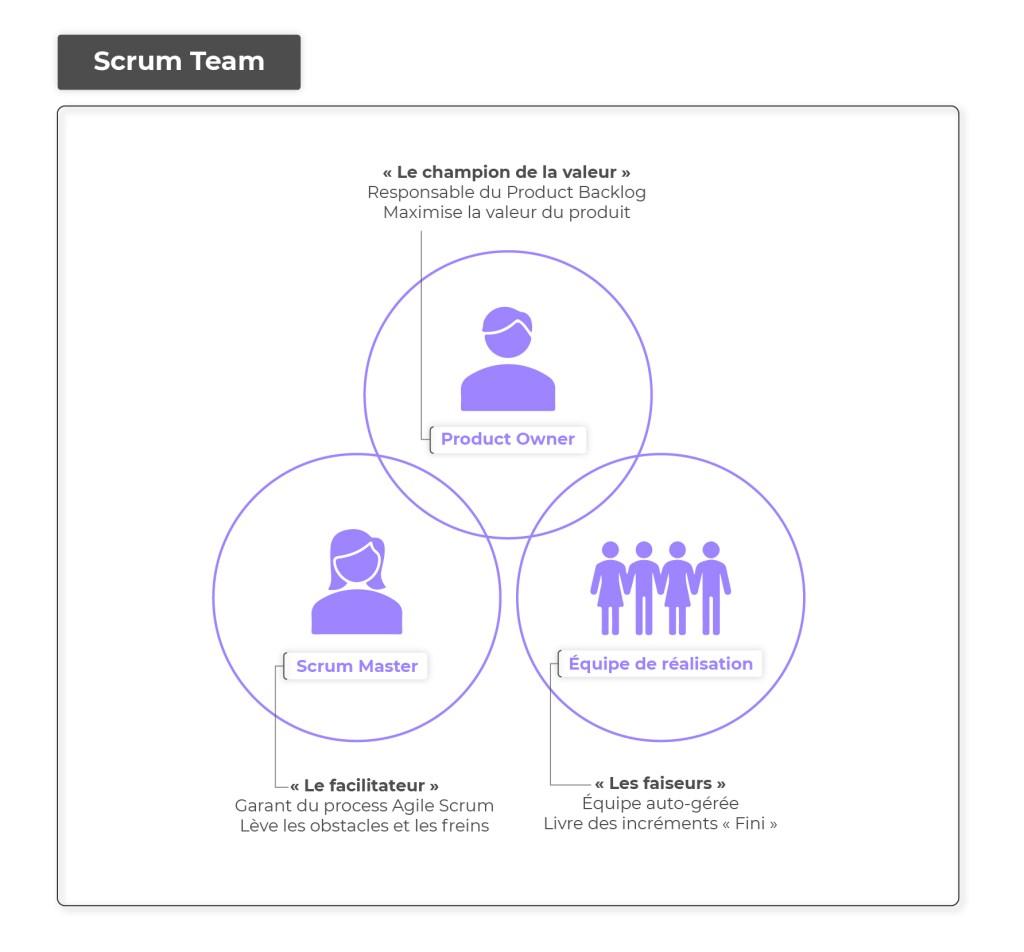 schéma simplifié des rôles dans agile scum