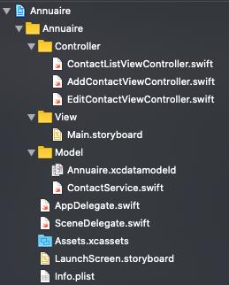capture de l'architecture pour le projet iOS