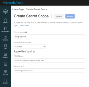 Azure secret scope