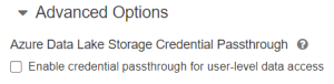 Azure Data lake storage credential passthrought