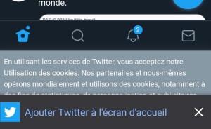 Twitter Mobile écran d'accueil