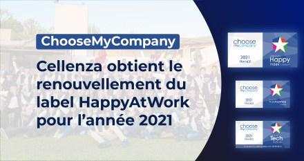 Cellenza obtient le renouvellement du label HappyAtWork pour l'année 2021