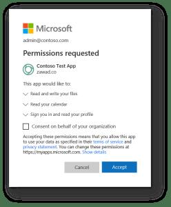 Microsoft demande permission Azure AD